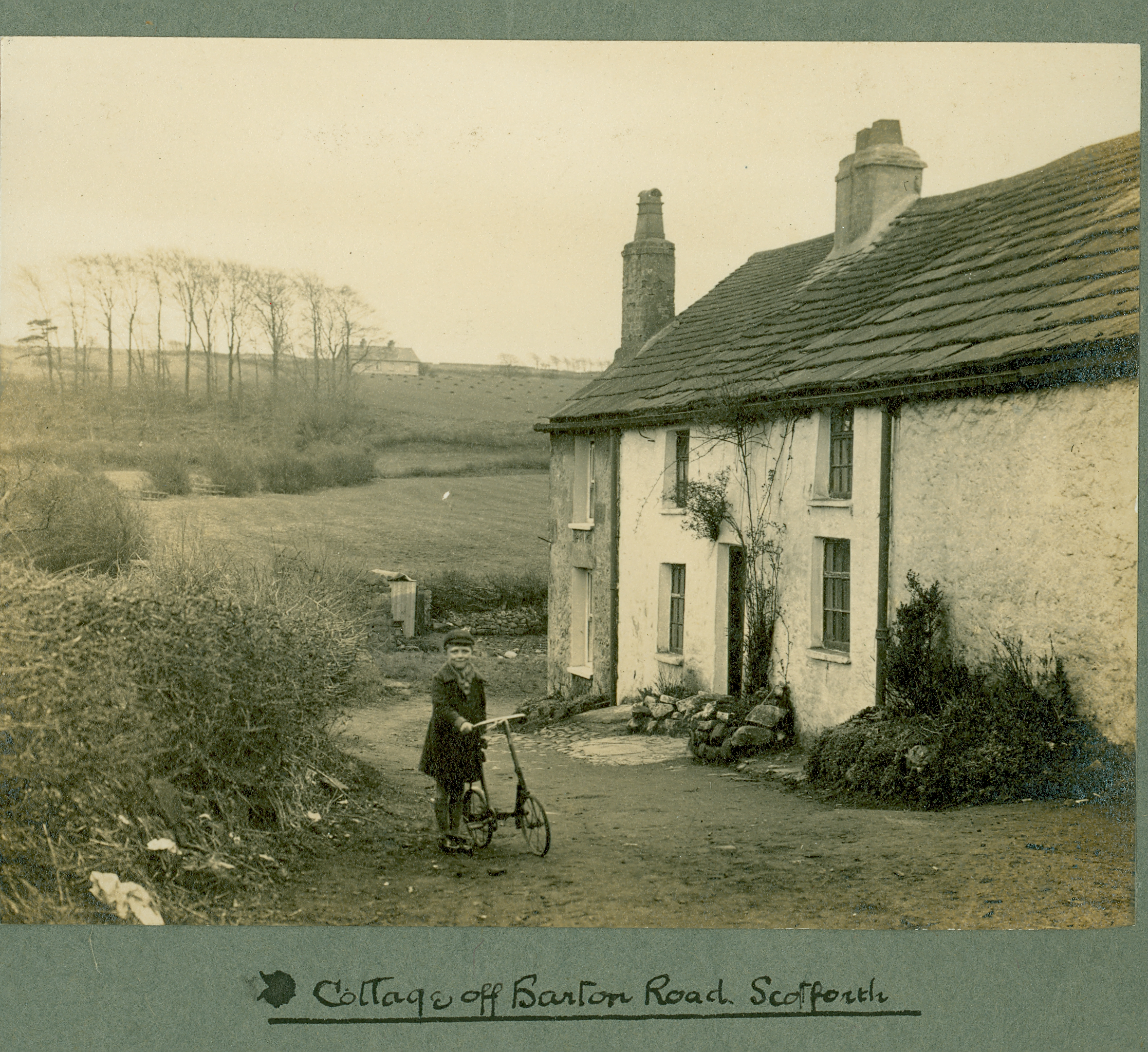 A cottage off Barton Road (at the back of Barton Road Centre).  Photograph by Sam Thompson (courtesy of Lancashire County Council Red Rose Collection)